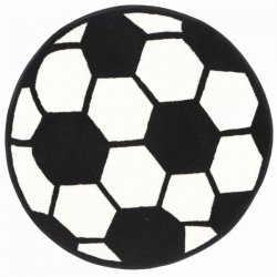 円形 サッカーボール柄 キッズラグ【Fun Shape High Pile Soccerball Sports Area Rug】