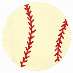 円形 ベースボール 野球ボール キッズラグ【Fun Shape High Pile Baseball Sports Area Rug】