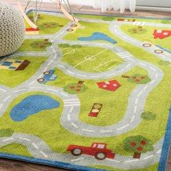 道路と車のマップデザイン キッズラグ【Farroe NB06 Country Road Trip Rug】