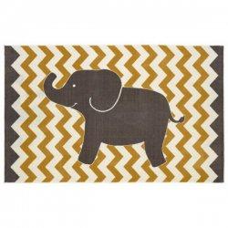 ゾウさん柄 ギザギザ模様 キッズラグ【Mohawk Home Aurora Lucky Elephant Rug】