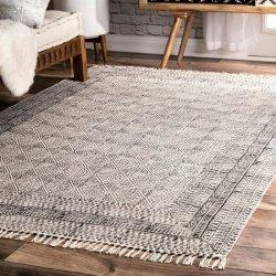 オリエンタル トライバル柄 コットン 平織りラグ アイボリー【Flatweave Cotton Sparkling Moroccan Tribal Trellis Rug】