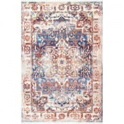 <img class='new_mark_img1' src='//img.shop-pro.jp/img/new/icons7.gif' style='border:none;display:inline;margin:0px;padding:0px;width:auto;' />【Edessa Faded Floral Rosette Medallion Fringe Rug】 輸入デザインラグ ヴィンテージ加工ラグ オーバーダイラグ カーペット 絨毯