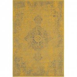 メダリオン柄 オーバーダイデザイン ヴィンテージ風ラグ イエロー【Oriental Weavers Revival 6330h Yellow Area Rug】