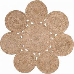円形パーツ アクセント ジュートラグ ラウンド【Maui Jute Decorative Circles Rug Round】