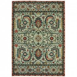 ペルシャ柄 民族系 オリエンタルラグ グリーン【Oriental Weavers Dawson 8490 Rug】