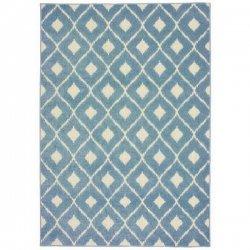モロッカン柄 チェック デザインラグ ブルー【Oriental Weavers Barbados 5502 Rug】