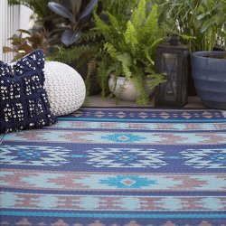ファブハビタット クスコ アウトドア ダイニング プラスチックラグ ブルー 【FabHabitat Earth Cusco Blue】