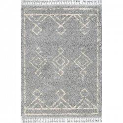 ダイヤ柄 モロッカン フリンジ シャギーラグ グレー 【Temara Moroccan Diamond Drop Tassel Rug Gray】
