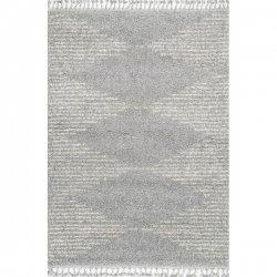 ストライプ ダイヤ柄 モロッカン フリンジ シャギーラグ グレー 【Temara Moroccan Diamond Pinstripes Tassel Rug Gray】