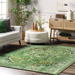 ペルシャ柄 オーバーダイ ヴィンテージ風ラグ グリーン 【Ashlina Printed Persian Overdyed Vintage Rug Green】