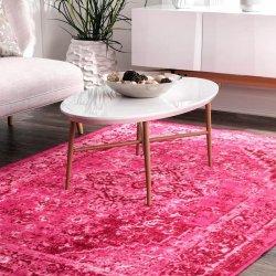 ペルシャ柄 オーバーダイ ヴィンテージ風ラグ ピンク 【Ashlina Printed Persian Overdyed Vintage Rug Pink】