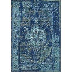 ペルシャ柄 オーバーダイ ヴィンテージ風ラグ ブルー 【Ashlina Printed Persian Overdyed Vintage Rug Blue】