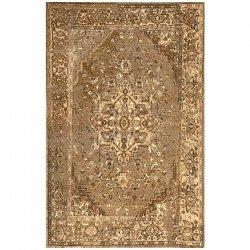 ペルシャ柄 オーバーダイ ヴィンテージ風ラグ イエローブラウン 【Ashlina Printed Persian Overdyed Vintage Rug Natural】