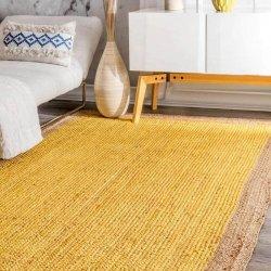 ナチュラル 天然素材 シンプル ジュートラグ イエロー 【Maui Jute Simple Border Rug Yellow】