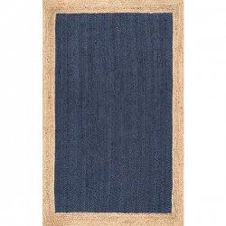 ナチュラル 天然素材 シンプル ジュートラグ ネイビー ブルー 【Maui Jute Simple Border Rug Blue】