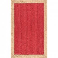 ナチュラル 天然素材 シンプル ジュートラグ レッド 【Maui Jute Simple Border Rug Red】