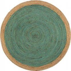 天然素材 ジュート100% 150cm円形 編み込みラグ ティールグリーン 【FabHabitat Yellowstone Braided Jute Rug Teal】