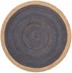天然素材 ジュート100% 150cm円形 編み込みラグ ダークブルー 【FabHabitat Yellowstone Braided Jute Rug Dark Blue】