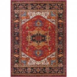 オリエンタル ペルシャ絨毯柄 メダリオンデザインラグ レッド【Surya Serapi SRP-1001 Red】