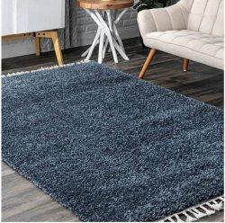 カリフォルニアスタイル シンプル フリンジ タッセル シャギーラグ ブルー【Blue Solid Shag With Tassels Area Rug】