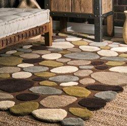 石畳の模様 ストーン柄 ウール100% デザインラグ ブラウン 【Pebbles Cobblestone Brown】