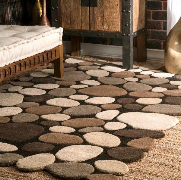 石畳の模様 ストーン柄 ウール100% デザインラグ ナチュラル【Pebbles Cobblestone Natural】