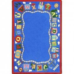 アルファベット トレイン キッズラグ ブルー【Joy Carpets Kid Essentials Reading Train Rug】