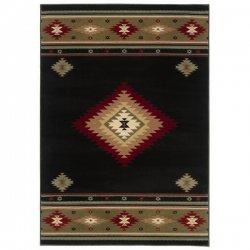 オルテガ柄 ネイティブ オリエンタルラグ ブラック【Oriental Weavers Hudson 087 Rug Black】