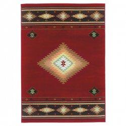 オルテガ柄 ネイティブ オリエンタルラグ レッド【Oriental Weavers Hudson 087 Rug Red】