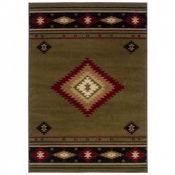 オルテガ柄 ネイティブ オリエンタルラグ カーキグリーン【Oriental Weavers Hudson 087 Rug Khaki Green】