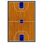 【Supreme Basketball Court Sports Brown Area Rug】 輸入子供ラグ/キッズラグ マット カーペット 絨毯