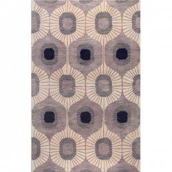 北欧風 レトロポップ柄 ウール100% デザインラグ グレー【Chelsea Curtain Grey】