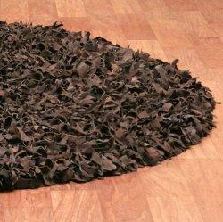 レザーシャギーラグ ダークブラウン【Pelle Leather Shag Dark Brown】