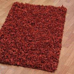 レザーシャギーラグ レッド【Pelle Leather Shag Red】