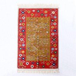 【即納商品】 ニューキリム トルコ コンヤ 最高級 草木染 ペーパーキリム ラグ マット カーペット 115cm×83cm