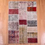 【即納商品】トルコ絨毯 パッチワークラグ アナトリア オールドカーペット マット 165cm×107cm