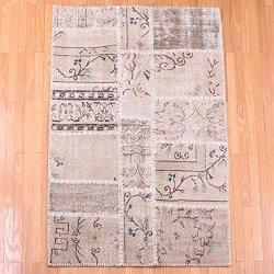 【即納商品】 トルコ絨毯 パッチワークラグ アナトリア オールドカーペット マット 130cm×99cm