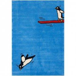 飛び込み台 ペンギン デザインラグ ブルー【Trendz Flying Penguins Sky】