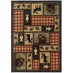 アメリカンカントリー ヘラジカ デザインラグ【Oriental Weavers Sphinx Hudson 1067A Multi】
