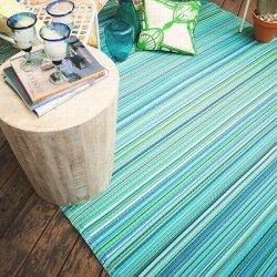 ファブハビタット カンクン アウトドア ダイニング プラスチックラグ ブルー 【Fab Habitat Earth Cancun Turquoise & Moss Green】