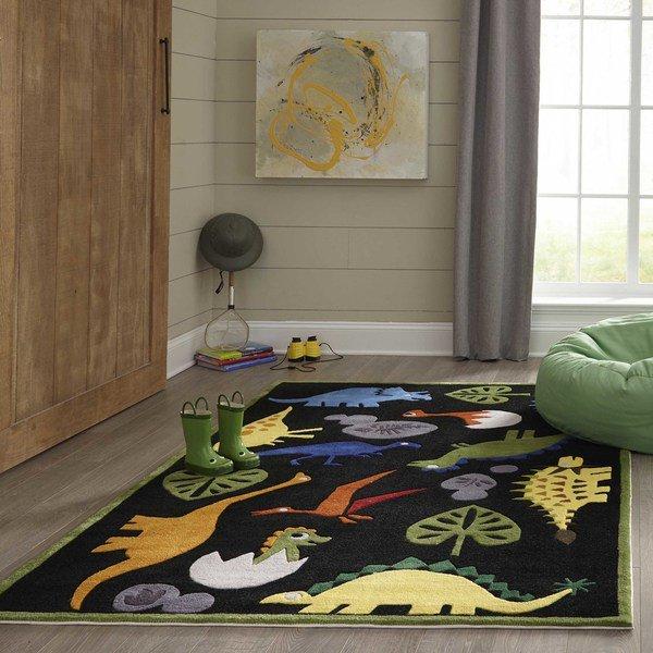 【Lil Mo Whimsy LMJ18 Black】 輸入デザインラグ/子供用ラグ/キッズラグ マット カーペット 絨毯