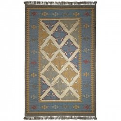民族系 トライバル柄 オリエンタル フリンジ 平織り キリムラグ ブルーグレー【St. Croix Trading Hacienda Royal Rug Blue Grey】