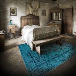 オリエンタル柄 オーバーダイ 男前ヴィンテージ風ラグ ブルー【Oriental Weavers Sphinx Revival 550 Blue】
