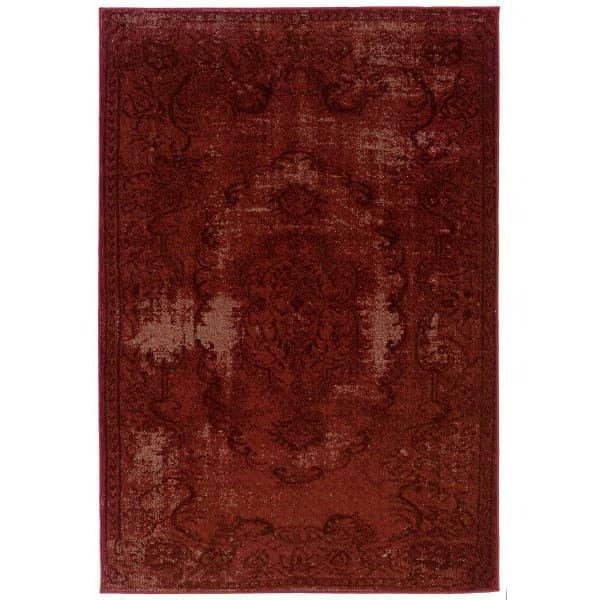 【Oriental Weavers Sphinx Revival 119 Red】 輸入デザインラグ/ヴィンテージ加工ラグ/オーバーダイ加工ラグ