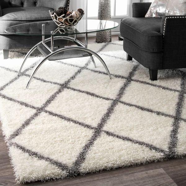【Moroccan Diamond Shag Grey】 輸入デザインラグ/モロッカンシャギーラグ マット カーペット 絨毯
