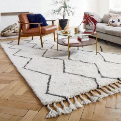 モロッカン ベニワレン風 ウール100% フリンジ シャギーラグ 【Moroccan Souk Wool Rug】