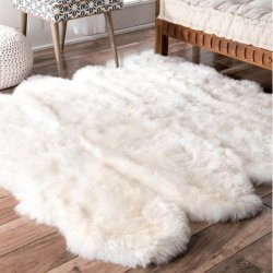 【Shag Octo Sheepskin with Faux Backing Natural Rug Eight Pelt 8】 シープスキン・ムートンラグ ニュージーランドウール100%