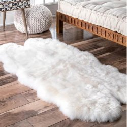 【Shag Quatro Sheepskin with Faux Backing Natural Rug Four Pelt 4】 シープスキン・ムートンラグ マット カーペット 絨毯