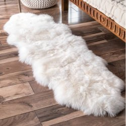 【Shag Double Sheepskin with Faux Backing Natural Rug Two Pelt 2】 シープスキン・ムートンラグ ニュージーランドウール100%