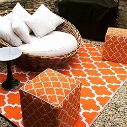 ファブハビタット モロッカン タンジェ アウトドア ダイニング プラスチックラグ オレンジ/ホワイト【Fab Habitat Earth Tangier Carrot & White】